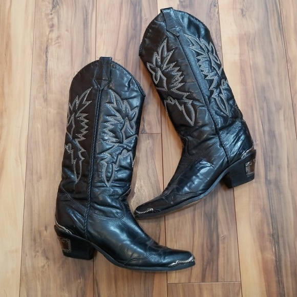 7ccff32ec1b65 Zodiak black leather cowboy boots
